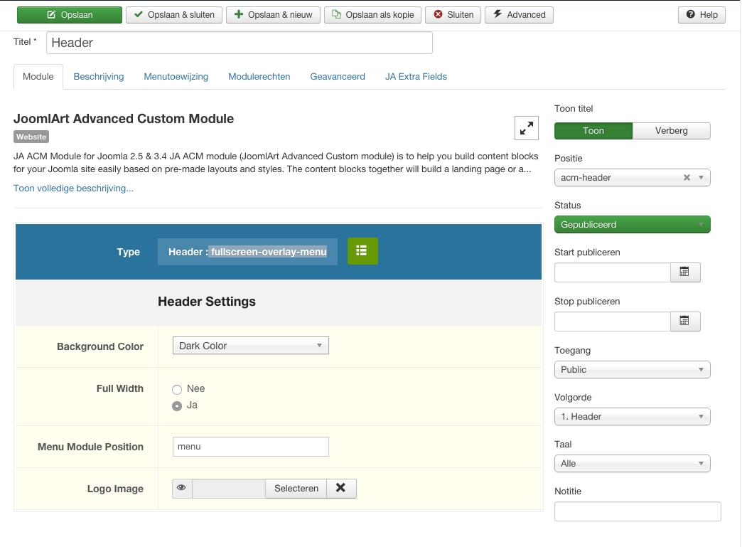 ACM header fullscreen-overlay-menu internal server error - JoomlArt