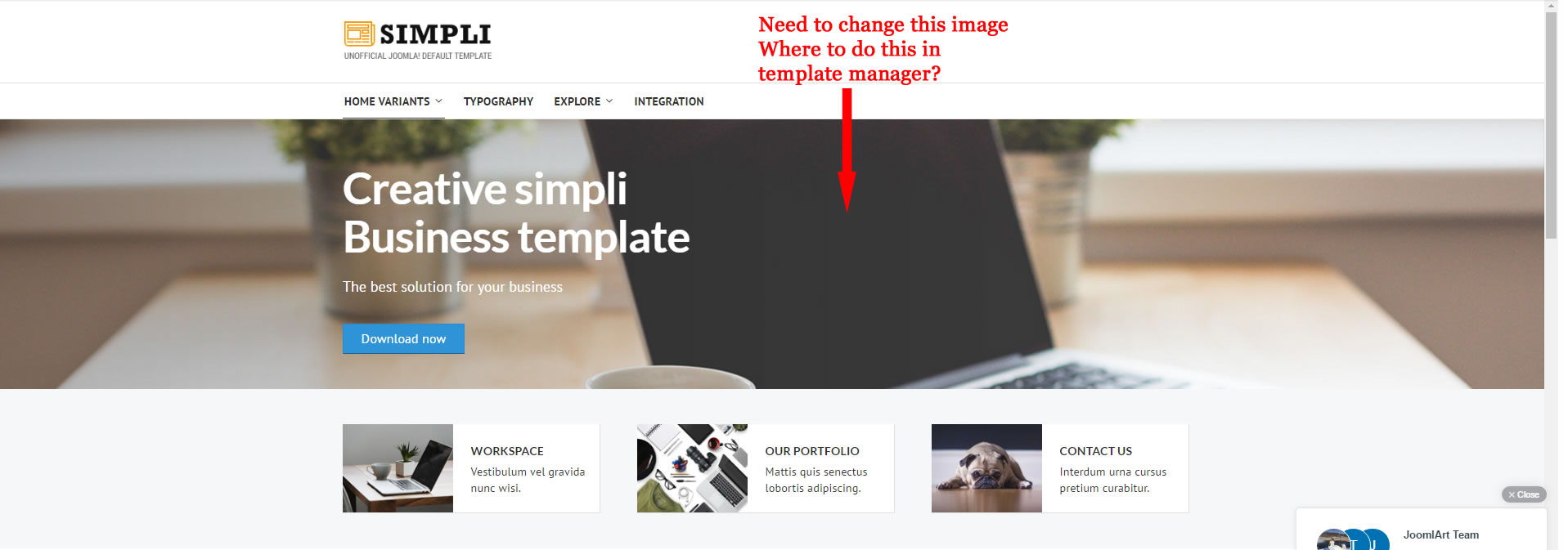 How to change the background image - JoomlArt