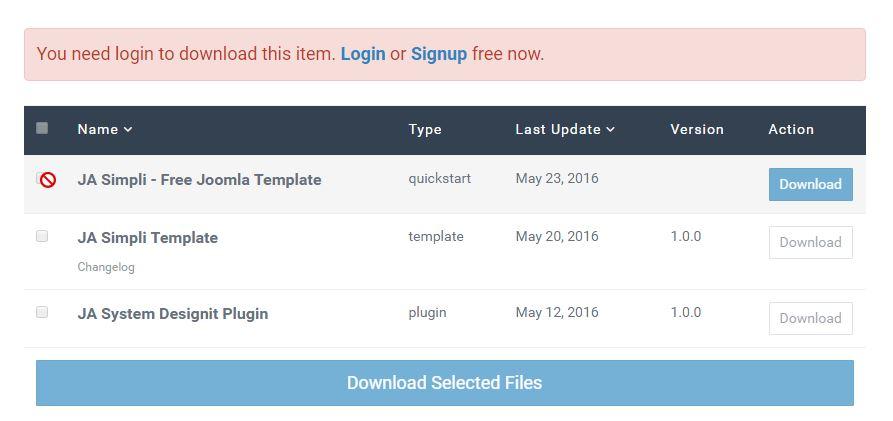 I cant download free Template JA Simpli JoomlArt – Change Log Template