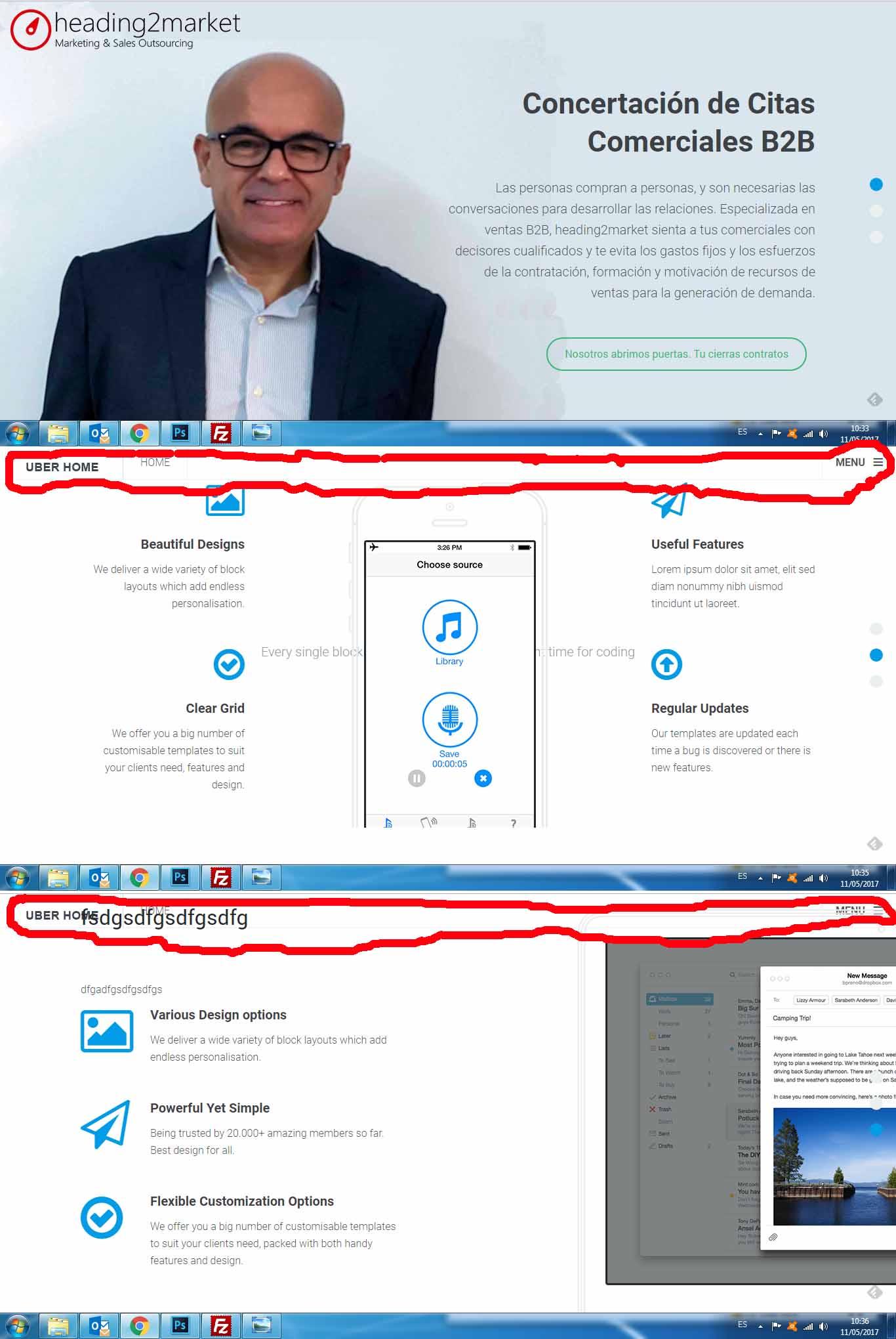 Uber Landing Page: Remove menu header - JoomlArt