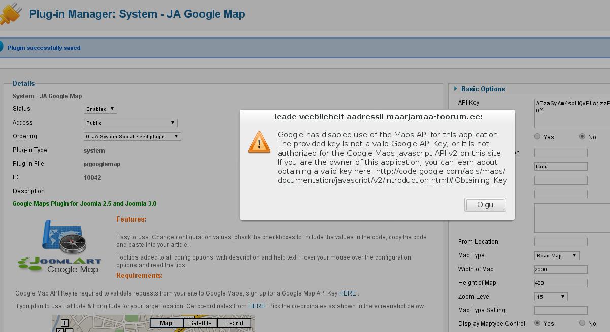 Error message with Ja Google Map PLugin - JoomlArt