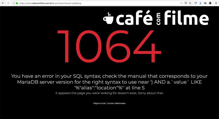 Error 1064 - Error in SQL Sintax - Support Central