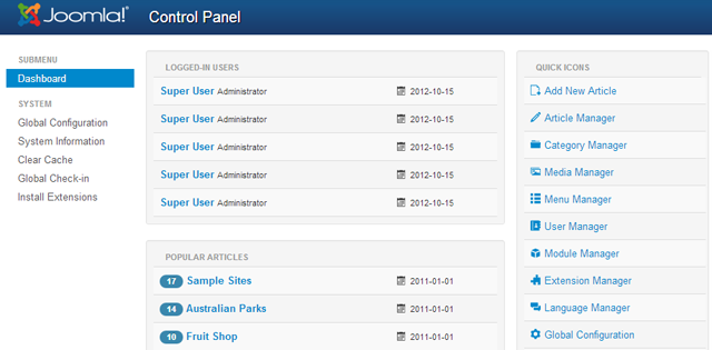 Joomla 3.0 dashboard