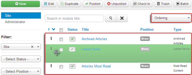 Say yes to the new Drag & Drop feature for sorting elements in Joomla 3.0