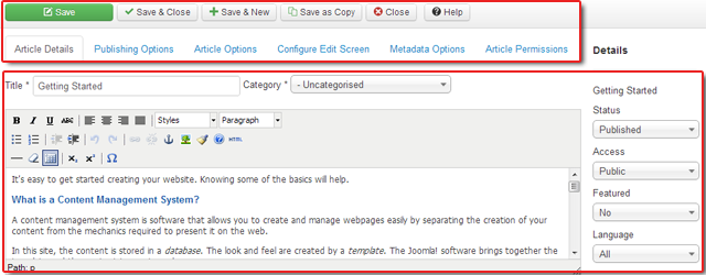 vs. Article edit screen in Joomla 3.0