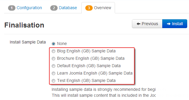 vs. five sample data sets on Joomla 3.0