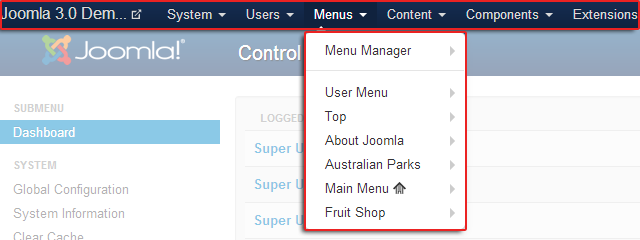 Main menu in Joomla 3.0 back-end
