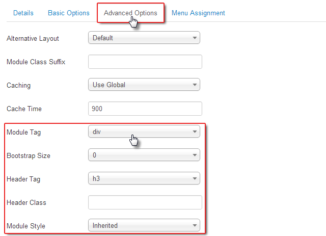 Your usual and limited module settings in Joomla 2.5
