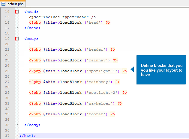 Define blocks for your new layout with the existing block definitions