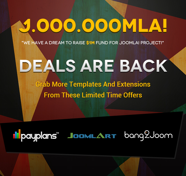 Launching new Joomla Humble Bundle deals featuring PayPlans, Bang2Joom and JoomlArt - Limited time offer
