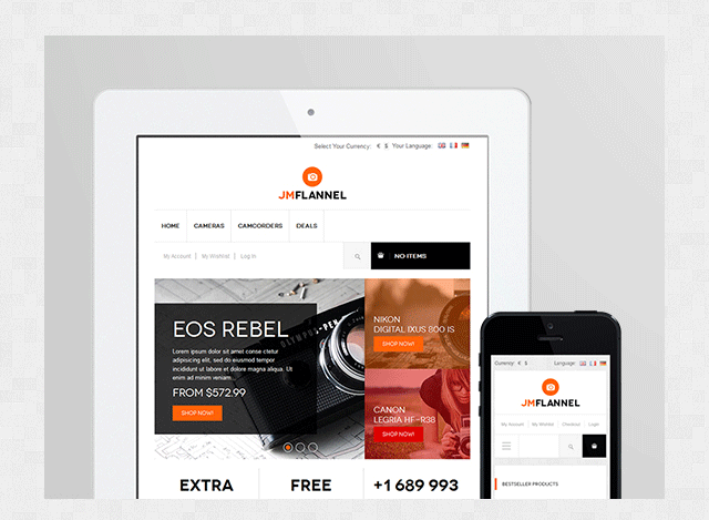 JM Flannel - A charming yet powerful Responsive Magento theme for your online digital store