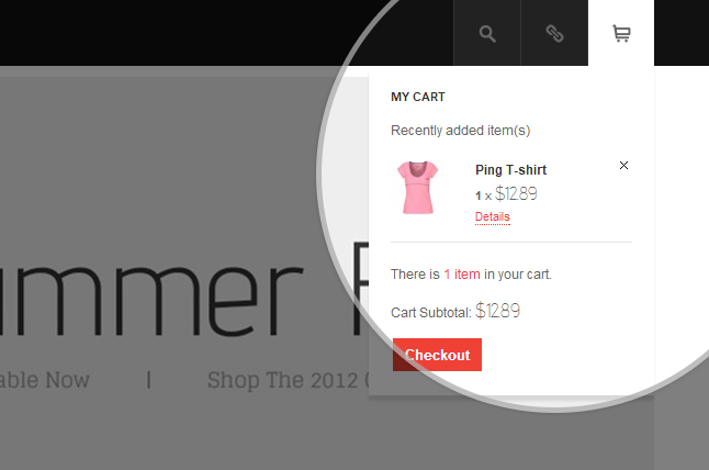 Drop-down menu for your shopping cart from your site's header in the big screen