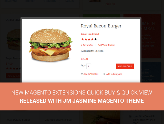 New Magento extensions Quick Buy & Quick View released with JM Jasmine Magento theme