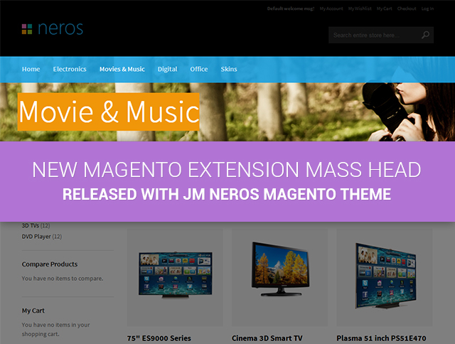 New Magento Extension Mass Head released with JM Neros Magento theme