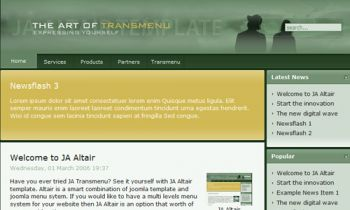 JA Altair - The art of Transmenu in Joomla template