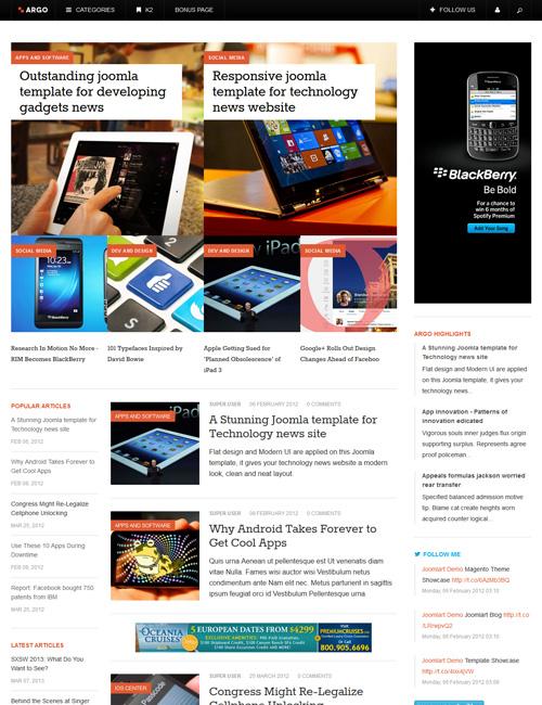 JA Argo for Joomla 商业模板 收费模板