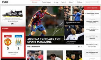 JA Fubix - Responsive Joomla template for sports news