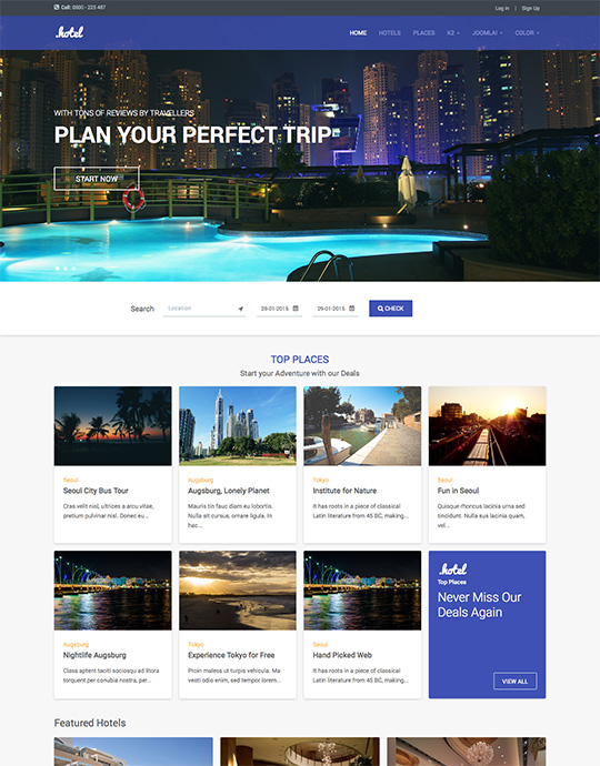 JA Hotel for Joomla 响应式网站前台模板