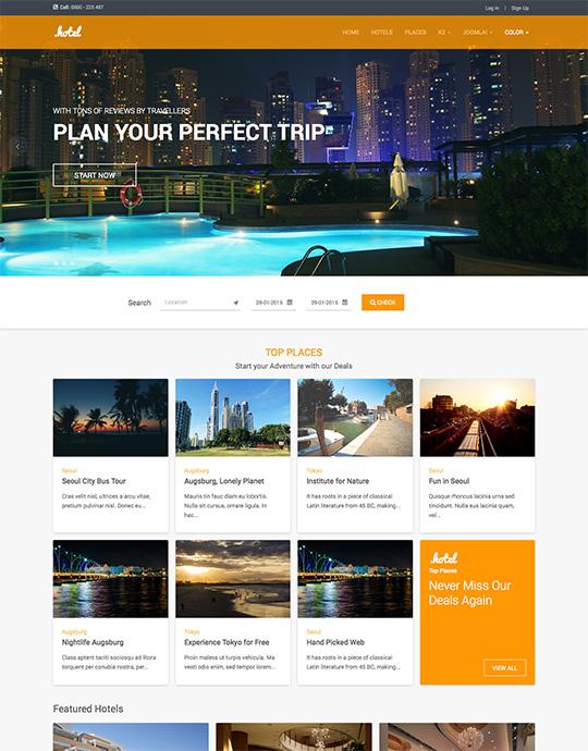 JA Hotel - Responsive Joomla Hotel & Travel template   Joomla ...