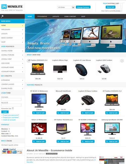 JA Mesolite - eCommerce inside | Joomla Templates and Extensions ...