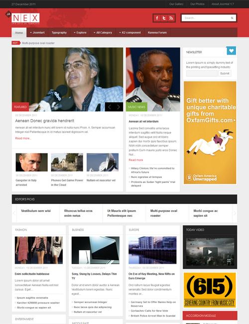 JA Nex - Joomla News Site template | Joomla Templates and Extensions ...