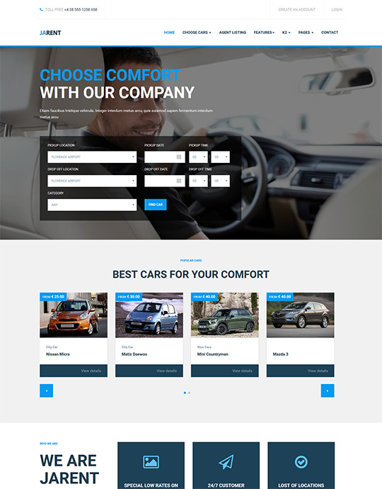 Ja Rent - Responsive Joomla Template For Vehicle Rental Service