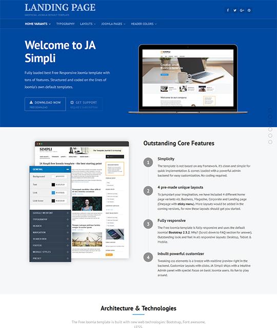 JA Simpli - the best Free default Joomla template   Joomla ...