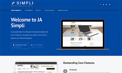 ja simpli the best free default joomla template