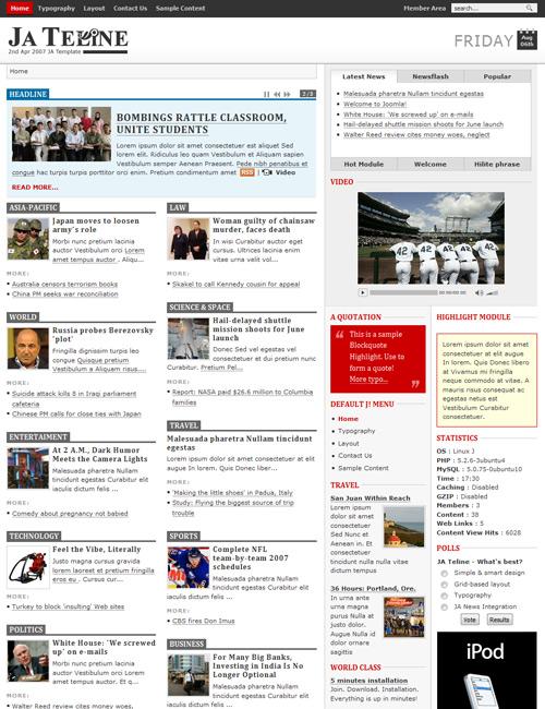 JA Teline - Grid-based Joomla News portal approach | Joomla ...