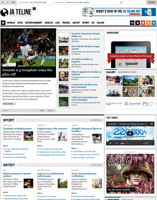 JA Teline IV Joomla Magazine News Template supports K2
