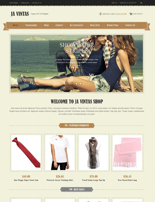 JA Vintas - Joomla 2.5 Shopping template with Virtuemart   Joomla ...